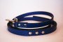 matching faux snakeskin lead in blue