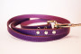 matching faux snakeskin lead in purple