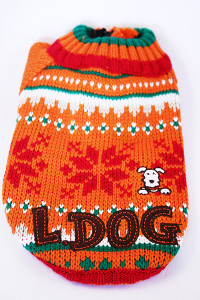 lovable dog winter knit orange