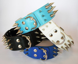 large metal spiked collars in 4 colours