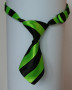 dog ties green/black stripes