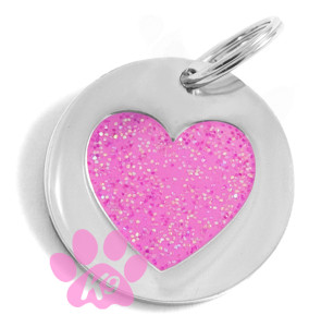 Glitter Heart Charm / id Tag by K9