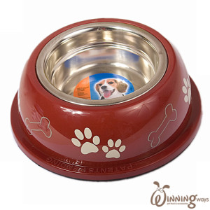 paw print dog bowl red