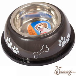 paw print dog bowl black