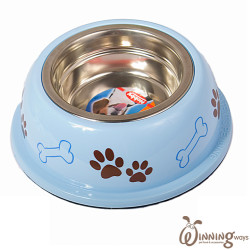 paw print dog bowl blue