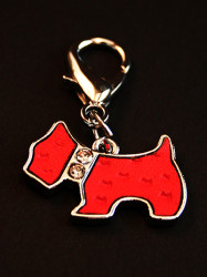 red dog collar charm